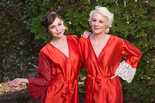 Red Luxurious Silk Lace Robes