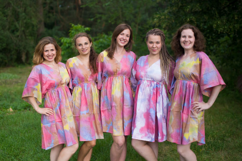 Batik Watercolor Button-Front Kaftan Dress for bridesmaids to get ready in