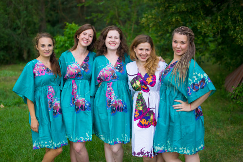 Big Butterfly Button-Front Kaftan Dress for bridesmaids to get ready in
