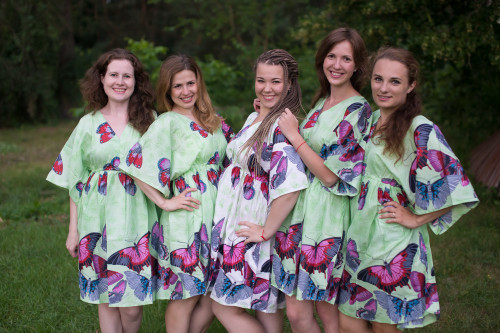 Butterfly Baby Button-Front Kaftan Dress for bridesmaids to get ready in