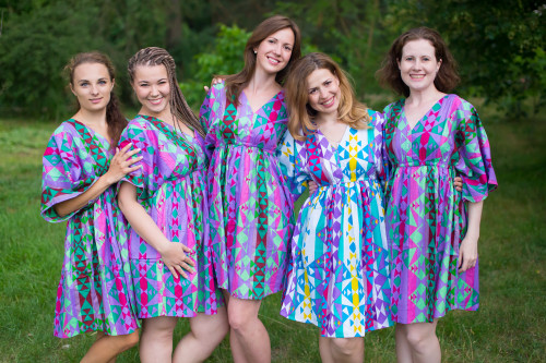 Diamond Aztec Button-Front Kaftan Dress for bridesmaids to get ready in