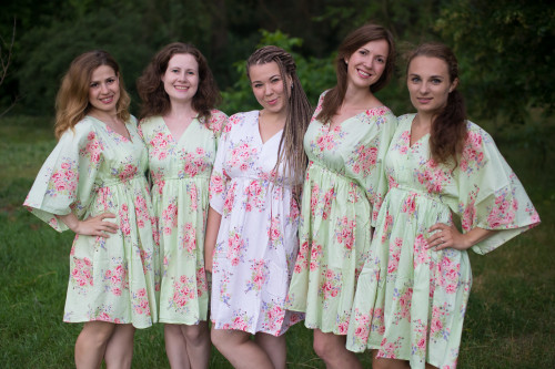 Faded Flowers Button-Front Kaftan Dress for bridesmaids to get ready in