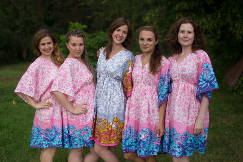Falling Leaves Button-Front Kaftan Dress for bridesmaids to get ready in
