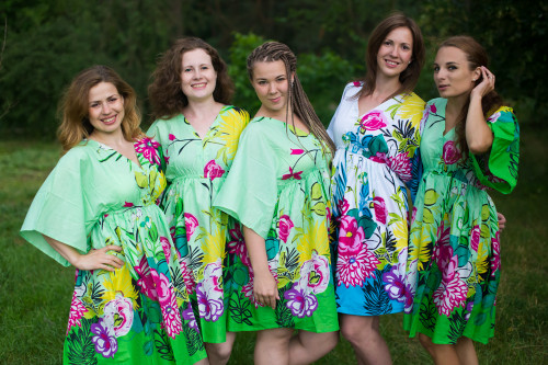 Jungle of Flowers Button-Front Kaftan Dress for bridesmaids to get ready in