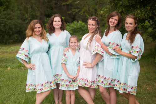 Little Chirpies Button-Front Kaftan Dress for bridesmaids to get ready in