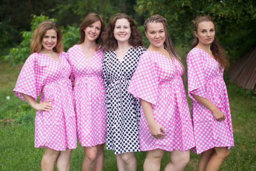 Polka Dots Button-Front Kaftan Dress for bridesmaids to get ready in