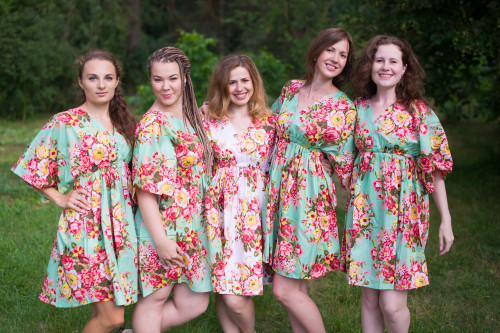 Rosy Red Posy Button-Front Kaftan Dress for bridesmaids to get ready in
