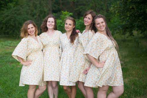 Starry Florals Button-Front Kaftan Dress for bridesmaids to get ready in