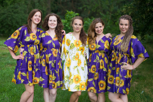 Sunflower Sweet Button-Front Kaftan Dress for bridesmaids to get ready in