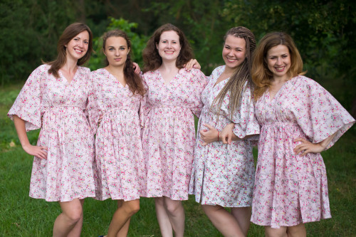 Tiny Blossoms Button-Front Kaftan Dress for bridesmaids to get ready in