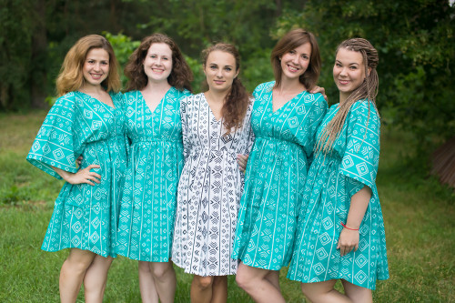 Tribal Aztec Button-Front Kaftan Dress for bridesmaids to get ready in