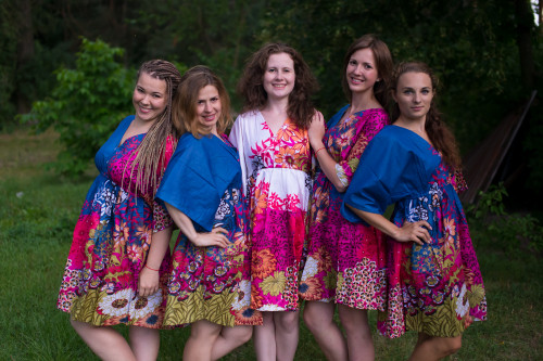 Vibrant Foliage Button-Front Kaftan Dress for bridesmaids to get ready in