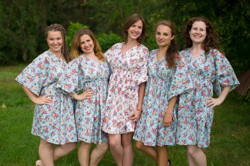 Vintage Floral Chic Button-Front Kaftan Dress for bridesmaids to get ready in