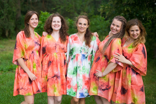 Watercolor Splash Button-Front Kaftan Dress for bridesmaids to get ready in