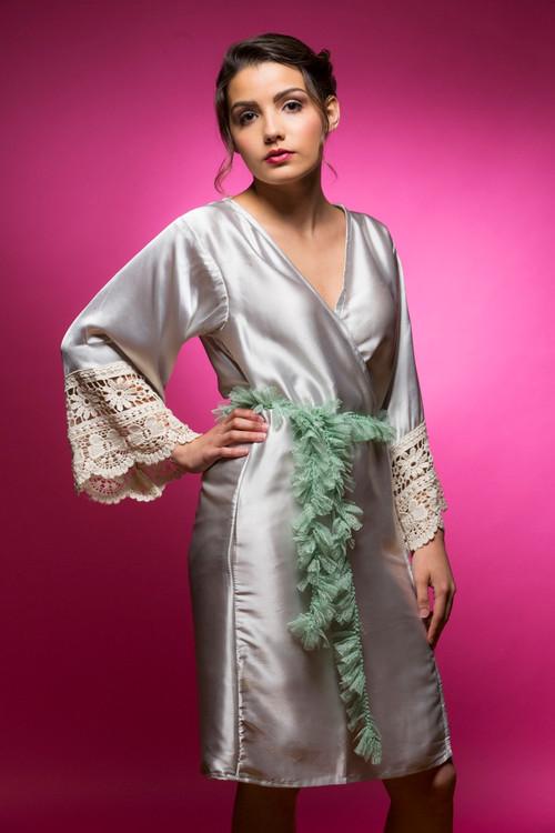 Silver Silk Lace Bridesmaids Robe