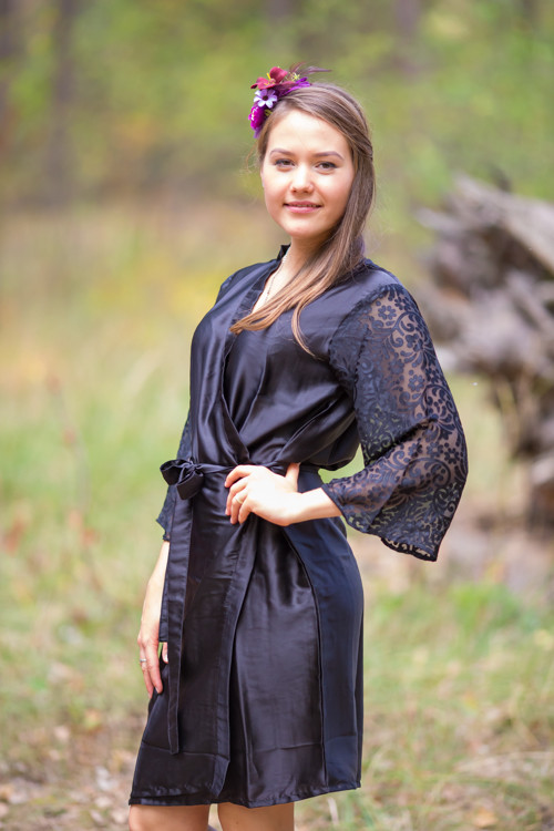 Black Luxurious Silk Robe with Silk Chiffon Devore Sleeves