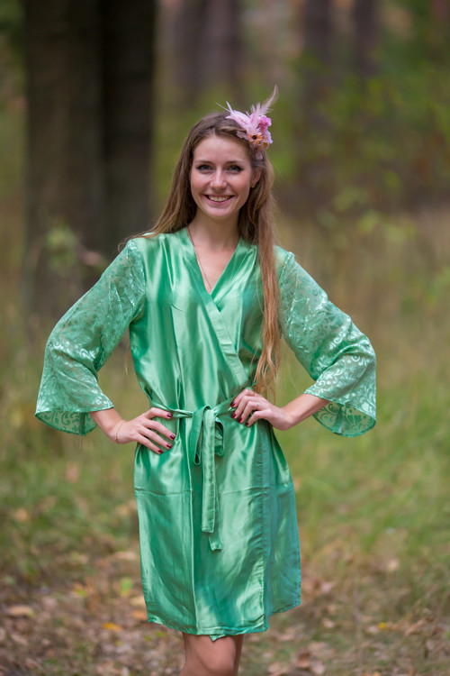Green Luxurious Silk Robe with Silk Chiffon Devore Sleeves