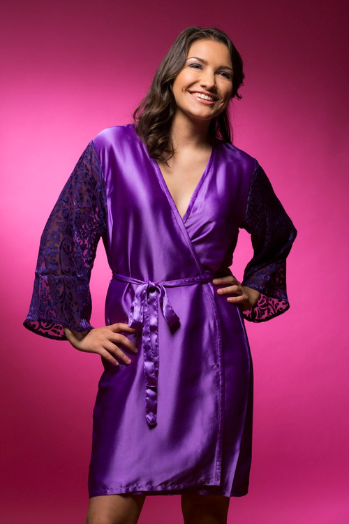 Purple Luxurious Silk Robe with Silk Chiffon Devore Sleeves