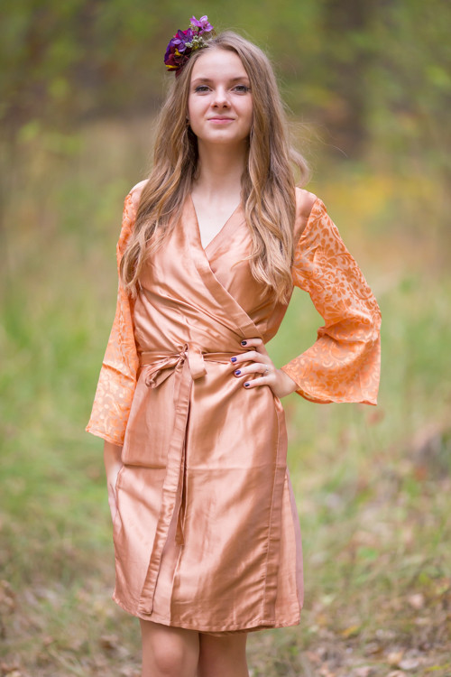 Rose Gold Luxurious Silk Robe with Silk Chiffon Devore Sleeves