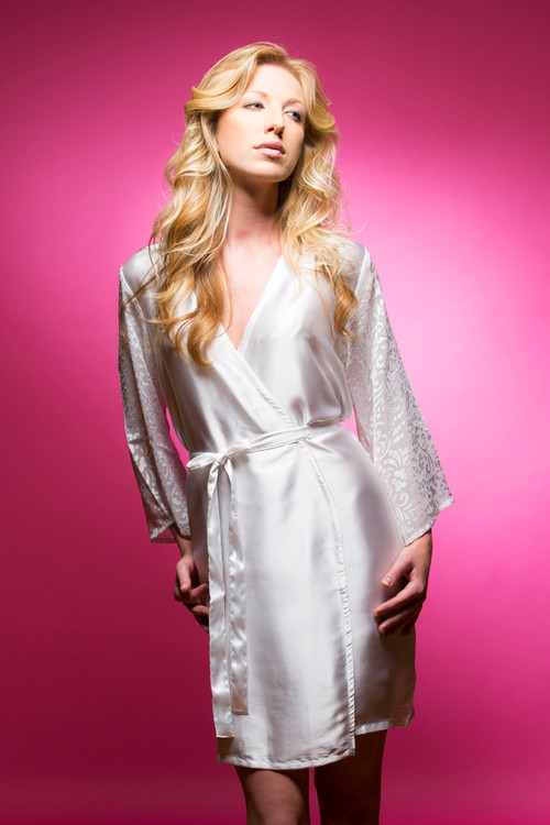 White Luxurious Silk Robe with Silk Chiffon Devore Sleeves