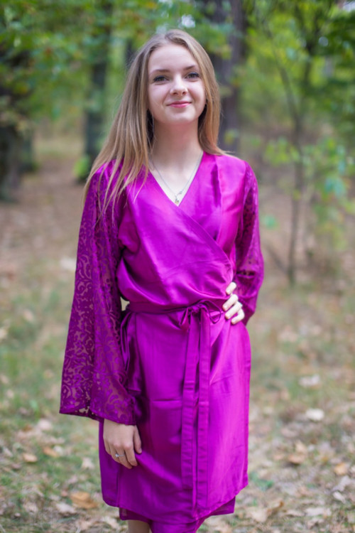 Wine Luxurious Silk Robe with Silk Chiffon Devore Sleeves