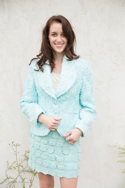 Beautiful Blue Bridesmaids Lace Suit for a Winter Wedding