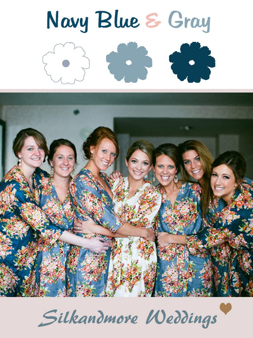 Gray and Navy Blue Wedding Color Robes