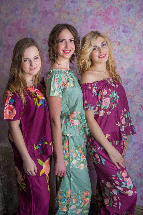 Sage and Plum Wedding Color Long PJs in Off-Shoulder Style