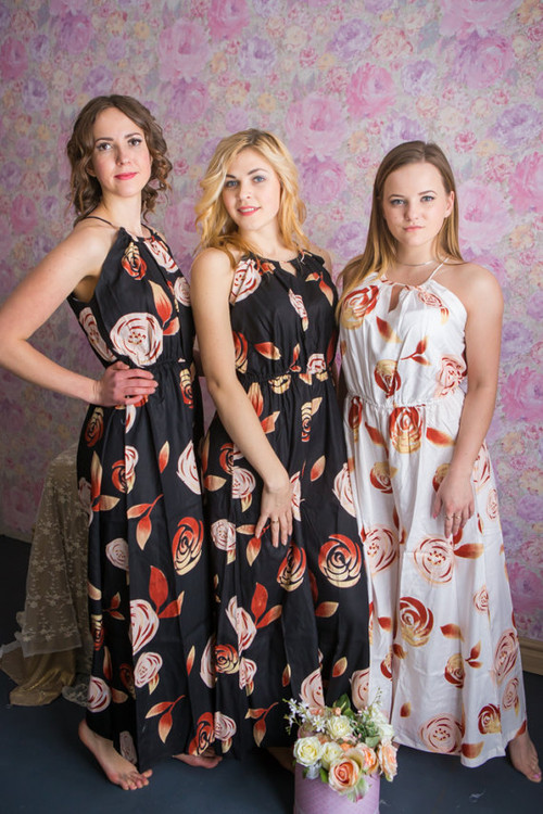 Halter Style Bridesmaids Jumpsuit in A Rumor Among Fairies Pattern