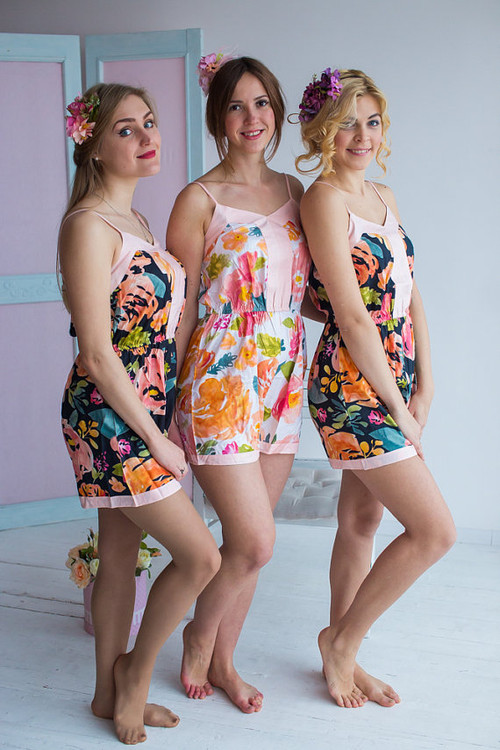 Spaghetti Strap Style Bridesmaids Rompers in Her Petal Garden Pattern