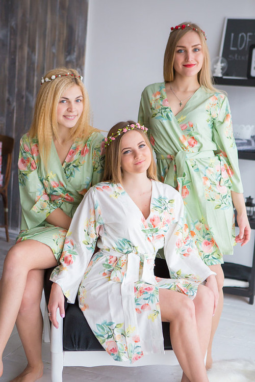 Dreamy Angel Song Pattern- Premium Soft Sage Bridesmaids Robes