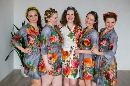 Gray Large Floral Blossom Robes for bridesmaids | Getting Ready Bridal Robes