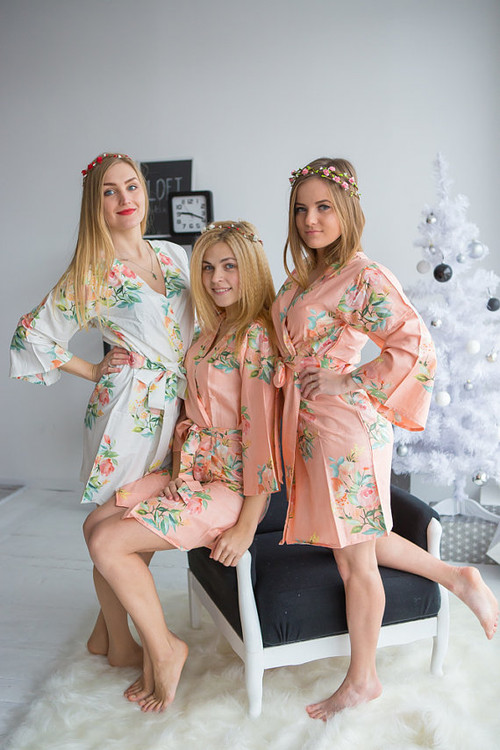 Dreamy Angel Song Pattern- Premium Peach Bridesmaids Robes