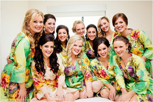 Green Large Floral Blossom Robes for bridesmaids   Getting Ready Bridal Robes