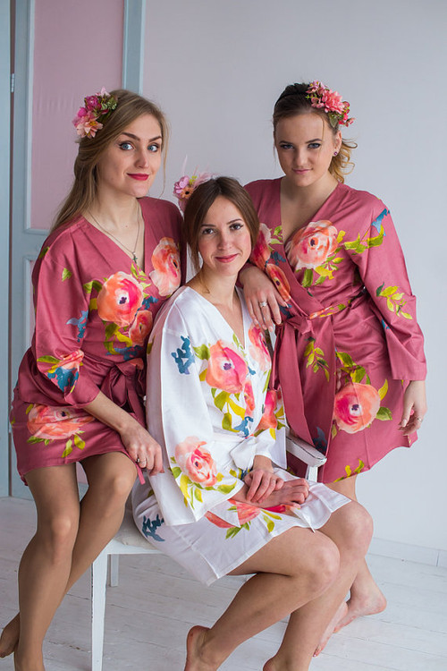 Smiling Blooms Pattern- Premium Dusty Rose Bridesmaids Robes