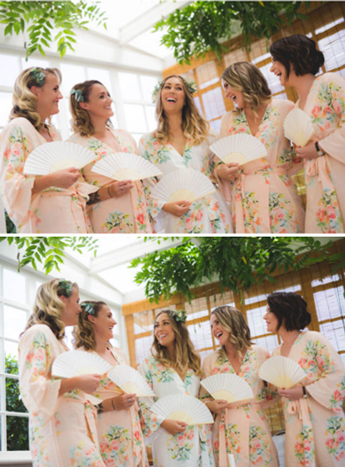 Dreamy Angel Song Pattern - Premium Blush  Bridesmaids Robes
