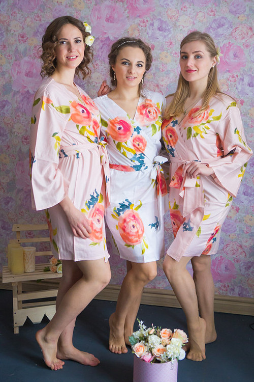 Smiling Blooms Pattern- Premium Blush Bridesmaids Robes