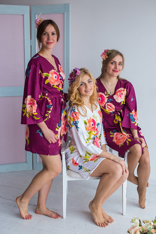 Smiling Blooms Pattern- Premium Plum Bridesmaids Robes
