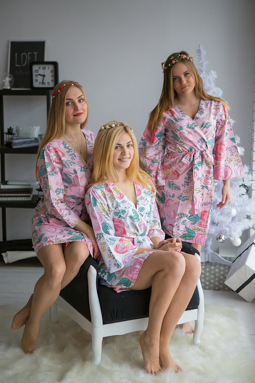 Whimsical Giggle Pattern- Premium Pink Bridesmaids Robes