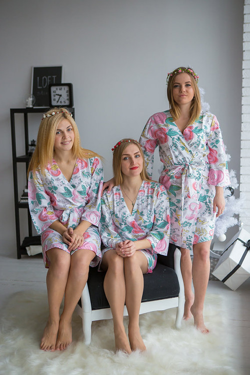 Whimsical Giggle Pattern- Premium White Bridesmaids Robes