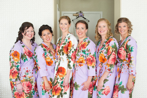 Lilac Large Floral Blossom Robes for bridesmaids   Getting Ready Bridal Robes
