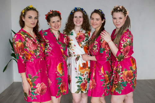 Magenta Large Floral Blossom Robes for bridesmaids | Getting Ready Bridal Robes