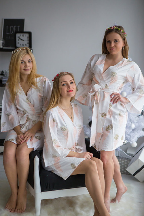 Blush and gold  wedding bridesmaids robes in feather print