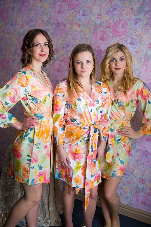 Her Petal Garden Pattern- Premium Mint Bridesmaids Robes