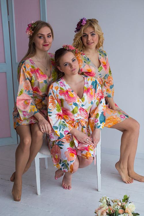 Her Petal Garden Pattern- Premium  Champagne Bridesmaids Robes