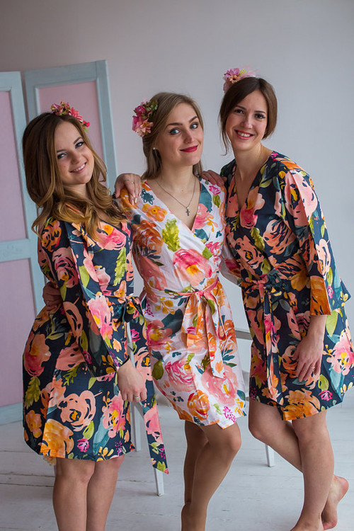 Her Petal Garden Pattern- Premium Blueberry Blue Bridesmaids Robes