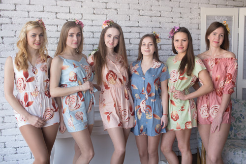 Mismatched Bridesmaids Rompers in A Rumor Among Fairies Pattern
