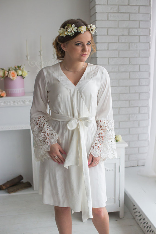 Lace Trimmed Robe from my Paris Inspirations Collection - Long Floral Lace Cuffs