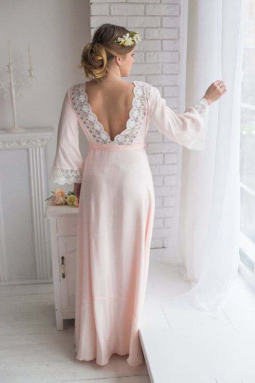 Lace Trimmed Blush Bridal Robe from my Paris Inspirations Collection - V-Back in Blush