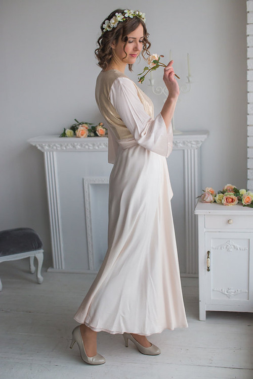 Soft Blush Gold Silk Bridal Robe from my Paris Inspirations Collection - Shimmering Grace in Soft Blush